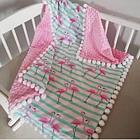 Детское одеяло зимнее минки с помпонами