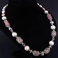 """Ожерелье из натурального камня розовый кварц и жемчуга Майорка авторской работы """"Розовые кружева"""""""