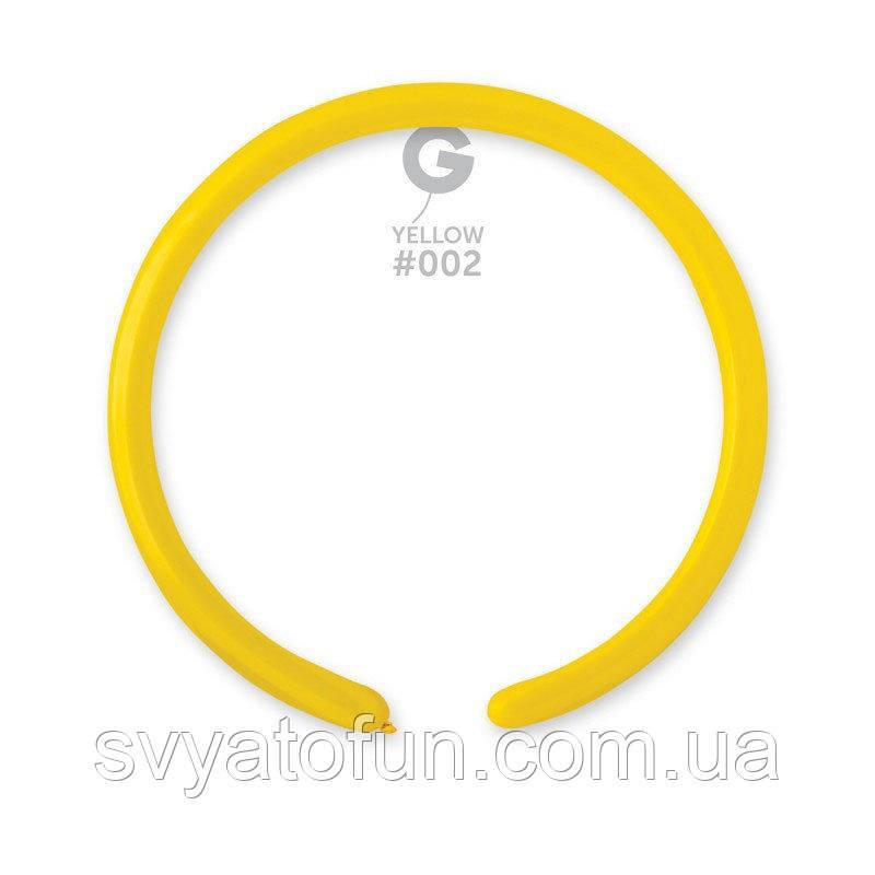 """Латексные воздушные шарики D2 конструктор 160"""" пастель 02 желтый 100шт Gemar"""