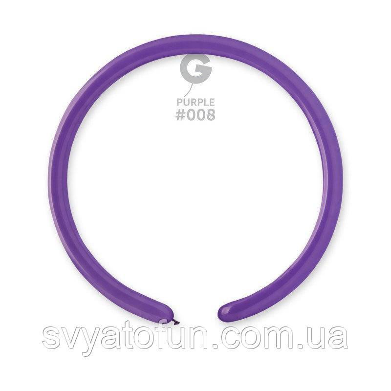 """Латексные воздушные шарики D2 конструктор 160"""" пастель 08 фиолетовый 100шт Gemar"""