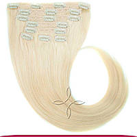 Натуральные Европейские Волосы на Заколках 50 см 100 грамм, Блонд №60