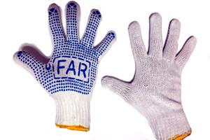 Купить перчатки ХБ с ПВХ точкой, рукавицы рабочие, перчатки резиновые, перчатки садовые