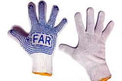 Купити рукавички ХБ з ПВХ крапкою, рукавиці робочі, рукавички гумові, рукавички садові