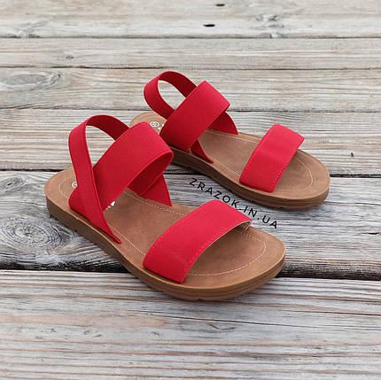 Красные босоножки шлепки тапки женские сандалии на резинке червоні босоніжки шльопанці тапки сандалі, фото 2