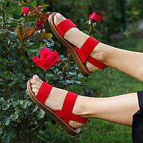 Красные босоножки шлепки тапки женские сандалии на резинке червоні босоніжки шльопанці тапки сандалі, фото 3