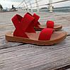 Красные босоножки шлепки тапки женские сандалии на резинке червоні босоніжки шльопанці тапки сандалі, фото 4