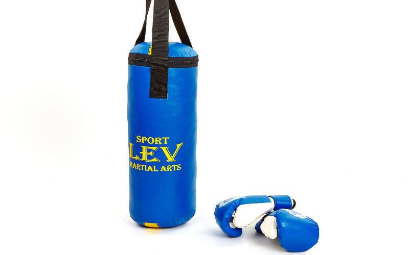 Боксерский мешок для ребенка набор с перчатками Лев Спорт 40см, d=15см, кожзам, разные цвета