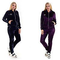 Женский велюровый костюм «Сана» (Темно-синий, фиолетовый | L, XL, XXL)