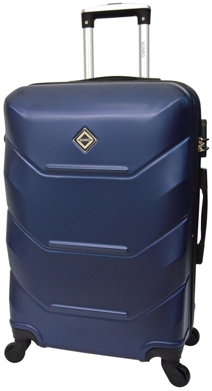 Дорожный чемодан на 4 колесах Bonro темно-синего цвета с кодовым замком среднего размера
