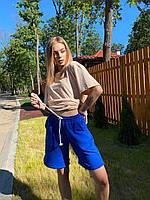 Шорты мини женские свободного стиля с боковыми карманами из трикотажа Bva115