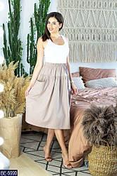 Спідниця жіноча лляна стильна розміри 42 44 46 Новинка є кольори