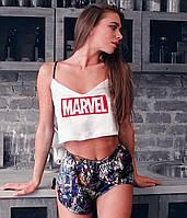 """Шелковая пижама летняя женская белая с принтом """"MARVEL"""". Размеры S,M,L. Шелковые пижамы женские"""