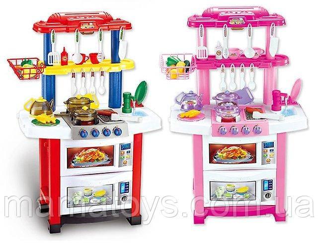 Детская игровая кухня 758 А - В из крана течет вода. 83 см. 33 предмета, Посуда, продукты, плита, духовка