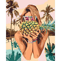 Акриловая картина по номерам на холсте девушка с ананасом 40х50, 3 уровень сложности