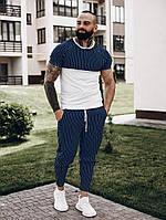 Футболка + штаны комплект набор костюм летний мужской стильный модный сине-белый в полоску Asos, фото 1