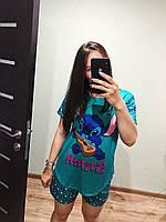 Пижама женская летняя бирюзовая с принтом животного (Стич) для дома и сна. Шорты + футболка, хлопковая. M L XL