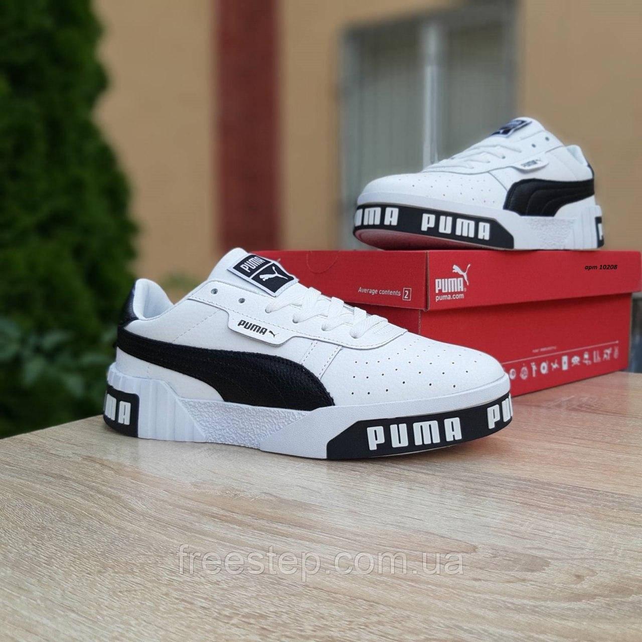 Мужские кроссовки в стиле  Puma Cali белые с чёрным