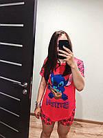 Пижама женская летняя красная с принтом животного (Стич) для дома и сна. Шорты + футболка, хлопковая. M L XL