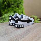 Мужские кроссовки в стиле  Puma Cali белые с чёрным, фото 9