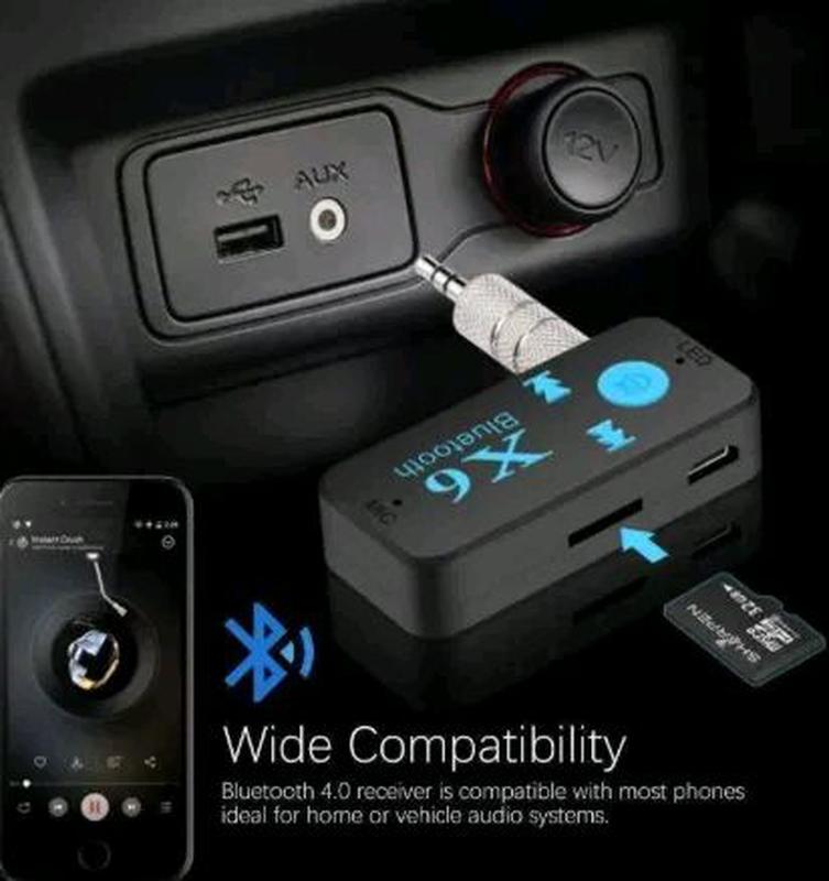Беспроводной Аудио Приемник Блютуз Bluetooth AUX Ресивер Tf Card+
