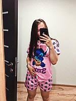 Пижама женская летняя розовая с принтом животного (Стич) для дома и сна. Шорты + футболка, хлопковая. M L XL