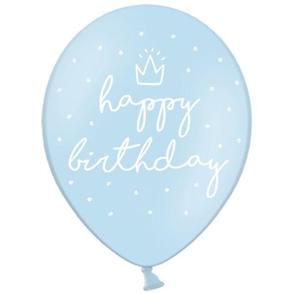 "PD 12"" Голубой Шар  Happy birthday"