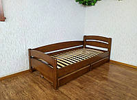 """Кровать детская с выдвижными с ящиками из массива дерева """"Марта"""" от производителя (орех лесной)"""