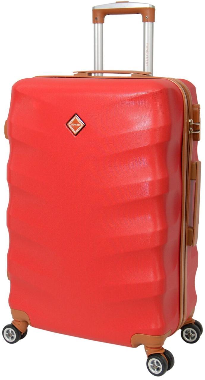 Небольшой дорожный чемодан на 8-и каучуковых колесах Bonro Next бордового цвета с кодовым замком