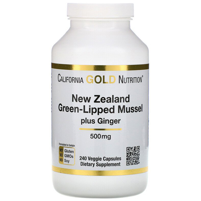 "Новозеландский зеленогубый моллюск California GOLD Nutrition ""New Zealand Green-Lipped Mussel"" (240 капсул)"