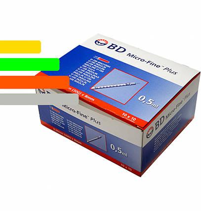 Шприц Инсулиновый U-100 BD Micro-fine Plus 0,5 ml уп. 100 шт. - Микрофайн, фото 2
