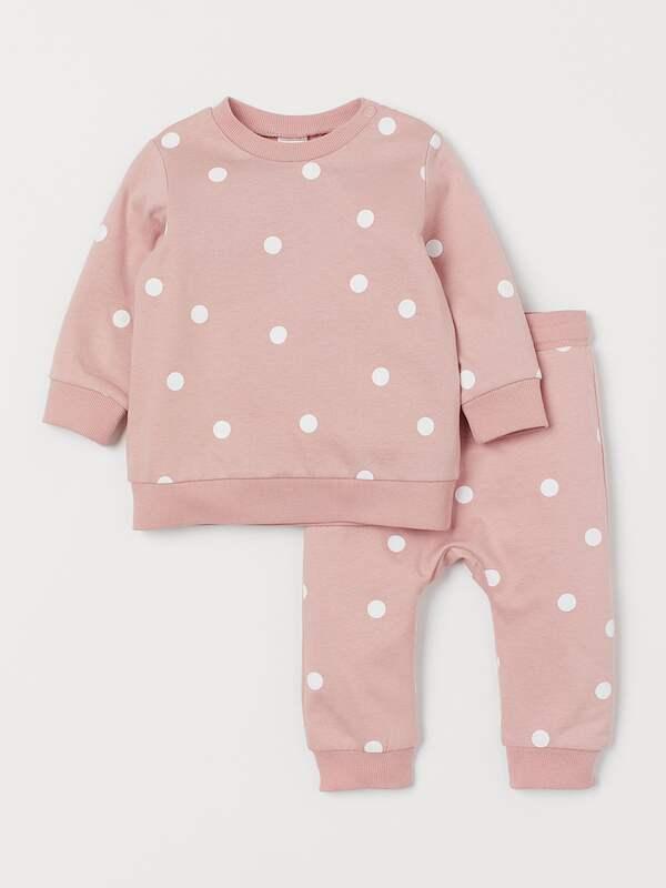 Спортивные штаны для девочек терракотовые в горошек H&M р.92см(1,5-2года)