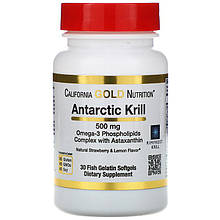 "Масло криля с астаксантином California GOLD Nutrition ""Antarctic Krill with Astaxanthin"" 500 мг (30 капсул)"