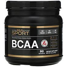 """Аминокислотный комплекс California GOLD Nutrition, SPORT """"BCAA 2:1:1 (AjiPure)"""" в порошке, 90 порций (454 г)"""