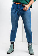Голубые стрейчевые джинсы батальные весенние