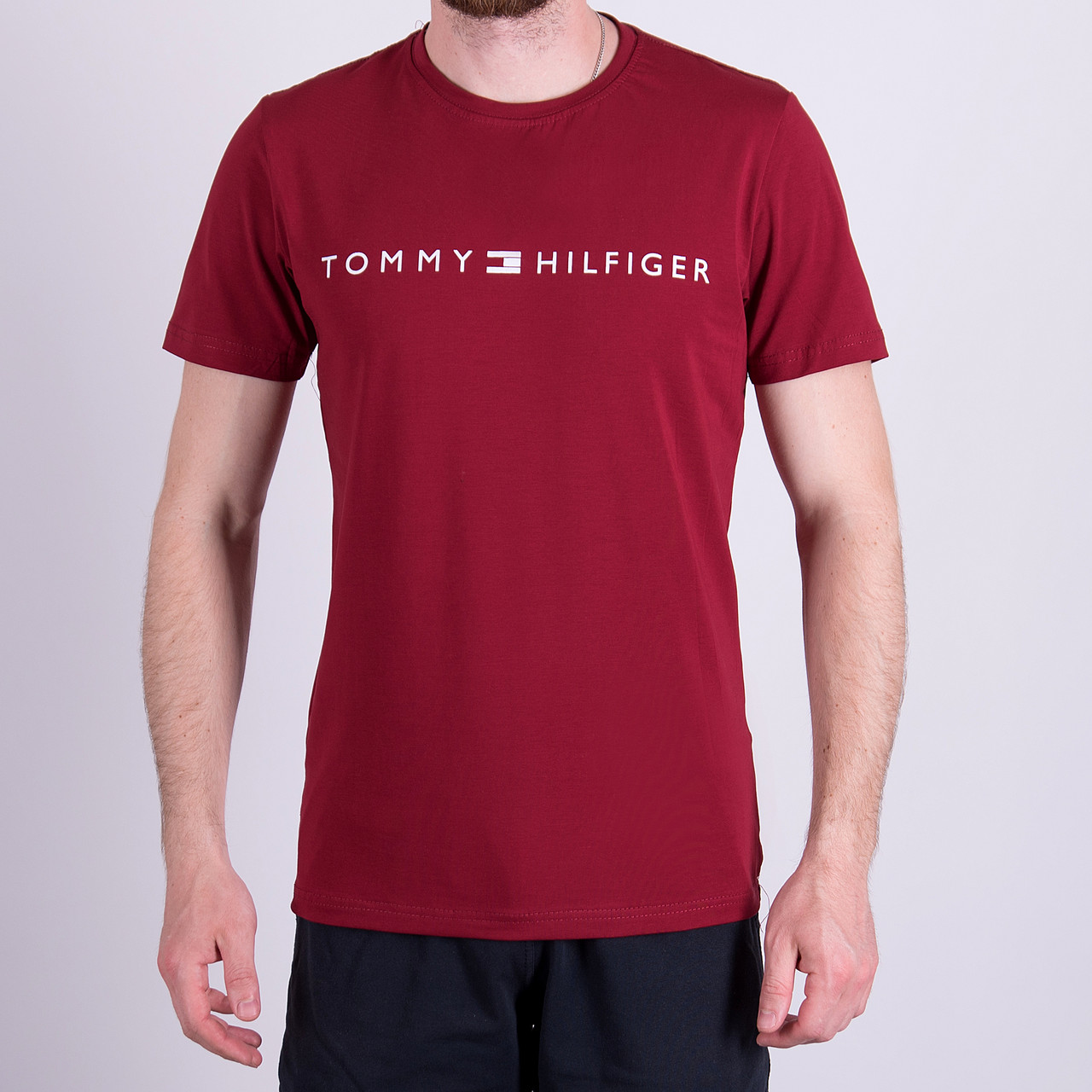 Чоловіча футболка TOMMY HILFIGER, кольору бордо