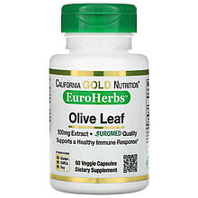 "Экстракт оливковых листьев California GOLD Nutrition, EuroHerbs ""Olive Leaf Extract"" 500 мг (60 капсул)"