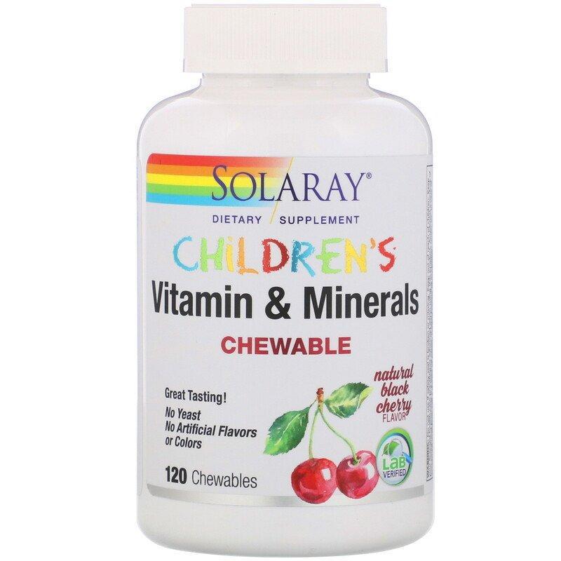 """Детские витамины и минералы SOLARAY """"Children's Chewable Vitamins & Minerals"""" вкус вишни (120 пастилок)"""