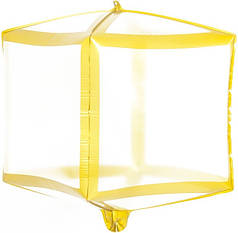 """Фол шар 24"""" КУБ прозрачный золотые грани 60 см (Китай)"""