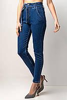 Весенние стрейчевые джинсы мом синие с высокой талией и поясом