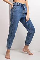 Синие весенние джинсы высокой посадки на манжетах