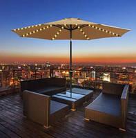 Зонт уличный для отдыха в саду на пляже террасе с LED подсветкой автономной Springos 300 см бежевый