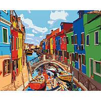 """Акриловая картина по номерам на холсте городской пейзаж """"Краски города"""" 40х50, 4 уровень сложности"""