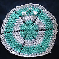Мочалка вязанная ручной работы (Турция) круглая мятная