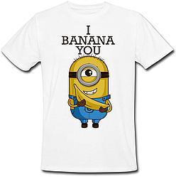 Футболка Fat Cat Миньон - I Banana You (белая)