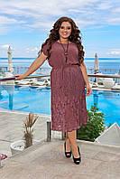 Нарядное летнее платье женское большого размера 48, 50,52,54, короткий рукав, гипюр, пояс, цвет Марсала