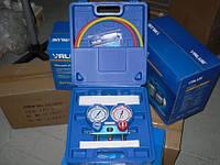 Коллектор двухвентельный VALUE VMG -2 R410 А-B шланги 90 см (R410, 407, 22,134) (чемодан)