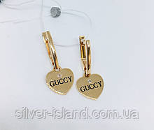 Золотые сережки с подвесом сердце копия GUCCY Бренд6