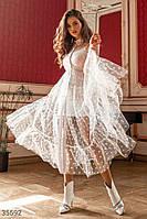 Белое платье-сетка в горошек