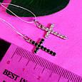 Серебряный родированный крестик с цирконием - Крестик серебро с фианитами, фото 4