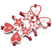 Набор новогодних украшений - прищепки сердца и звезды, 8 шт, 16*17 см, разноцветный, дерево (060580)